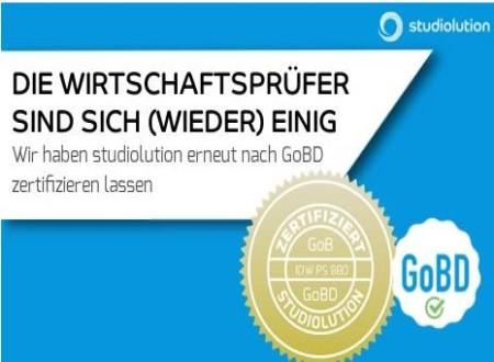 studiolution: erneut nach den Kassenrichtlinien GoBD zertifiziert